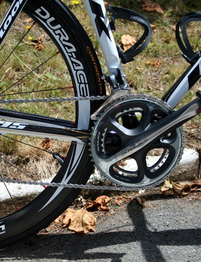 Thor Hushovd's drivetrain is pure Dura-Ace 7900.
