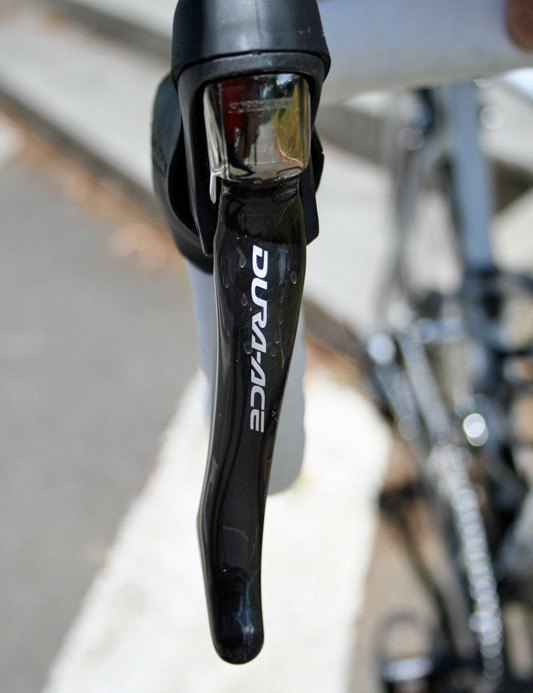 Dura-Ace 7900 levers are angled outwards for greater ergonomics.