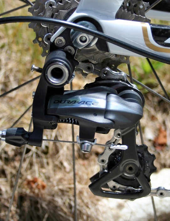 Shimano has made the 7900 rear derailleur much neater than the prototype versions we've been watching.