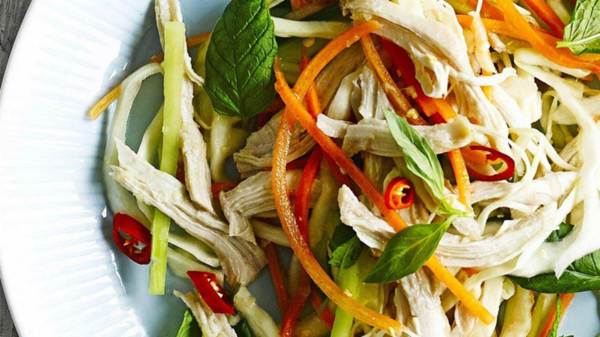 The dressing combines a chilli kick with tart lime juice and fish sauce