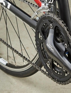 The Sora triple chainset adds to the number of usable gears