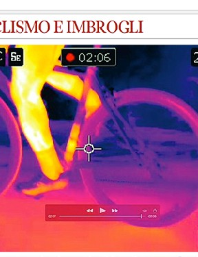 An image from the Corriere della Sera report on mechanical doping