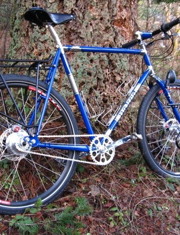 Touring bike with stainless lugs and fork crown