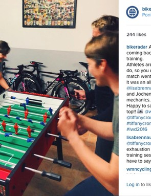 The team riders take on the mechanics at table football… and win