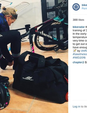 Cromwell gears up for a training ride. Her Canyon//SRAM team kit is produced by Rapha