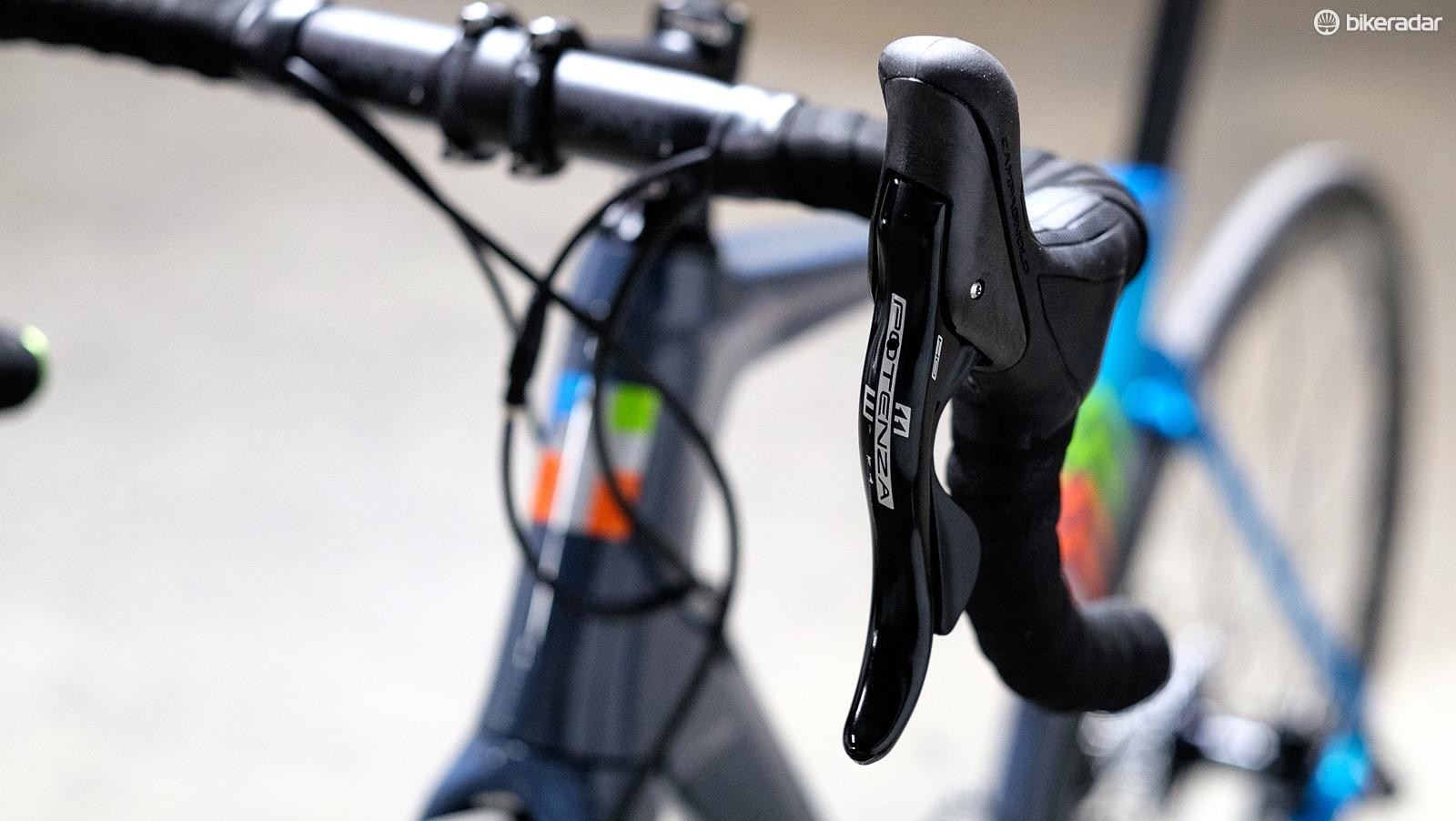 This is one of the first bikes equipped with Campagnolo's hydraulic disc brakes that we've got in for test