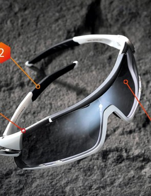 1: Lens removal is a pretty basic process, relying on you to pull on the top and bottom of the frame  2: The hydrophilic rubber grippers on the frame arms help keep the glasses in place  3: The smoke lens is a great option for bright sunny days. Clear and red lenses are also included