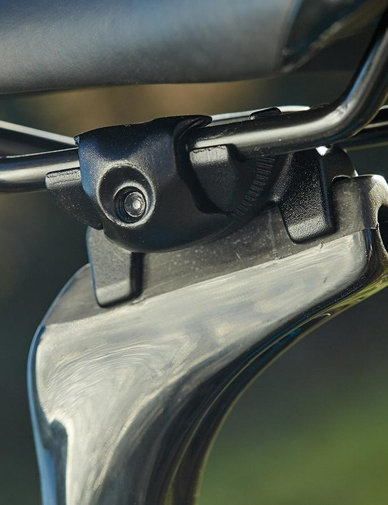 The carbon seatpost's head clamp allows for greater adjustment