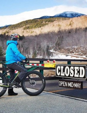 Technically closed, but Tim Johnson was not deterred from climbing Mt. Washington