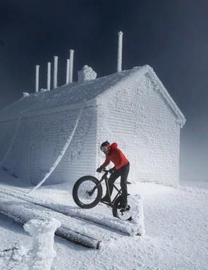 Tim Johnson climbs Mt. Washington on a fat bike