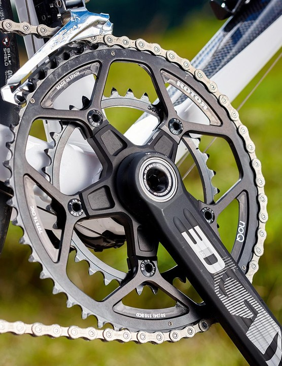 Rotor's rock-solid 3D chainset worked very well with the rest of the drivetrain's Ultegra components