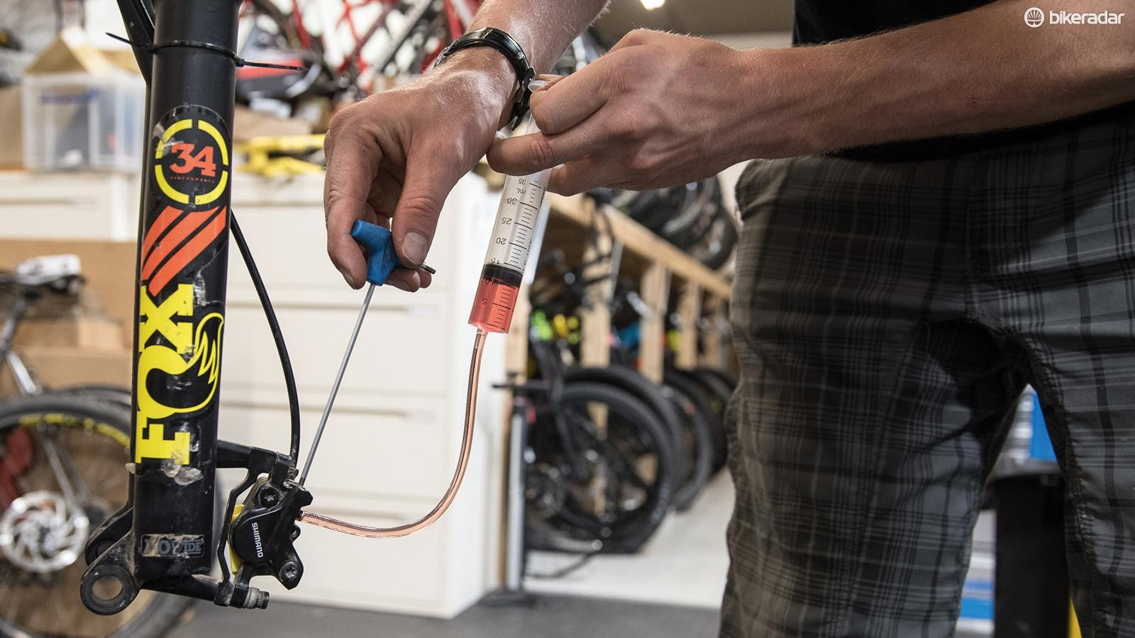 Shimano disc brake bleeding procedure — step-by-step guide to remove