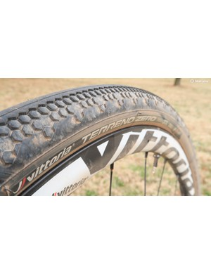 Vittoria was showing off its latest gravel tire, the ultra-fast rolling Terreno Zero at Land Run