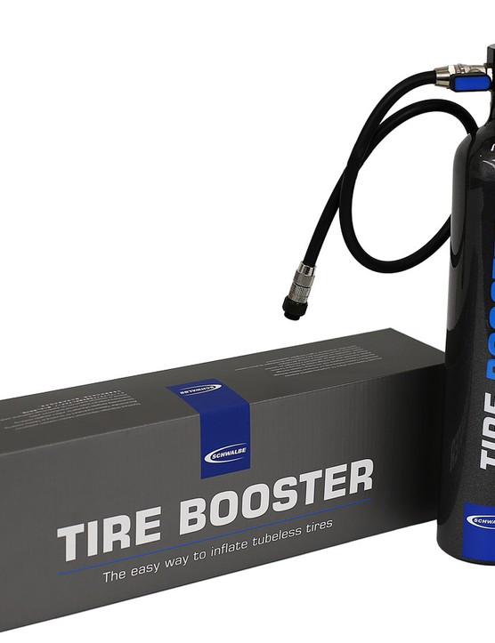 Seat tubeless tires at home, or at the parking lot, with Schwalbe's Tire Booster.
