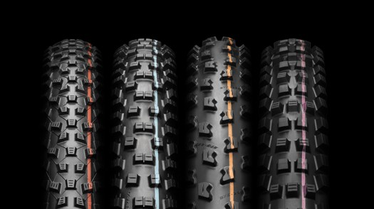 From left: Addix Speed for XC, Speedgrip for all mountain, Soft for enduro, and Ultra Soft for enduro/downhill