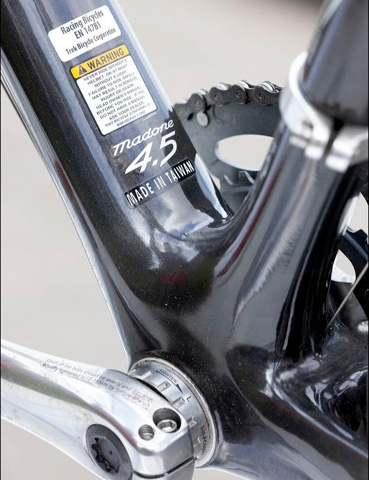 An unusual sticker for a Trek carbon frame