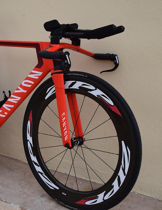Zipp and SRAM provide the majority of the components for the former time-trial world champion