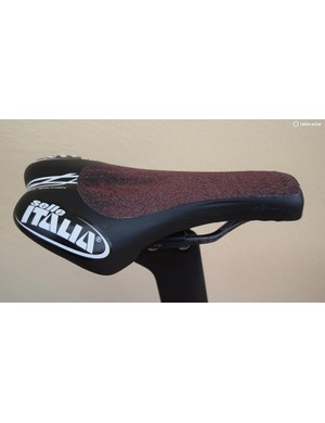 Grip tape on the saddle keeps Martin in his aero and most efficient position