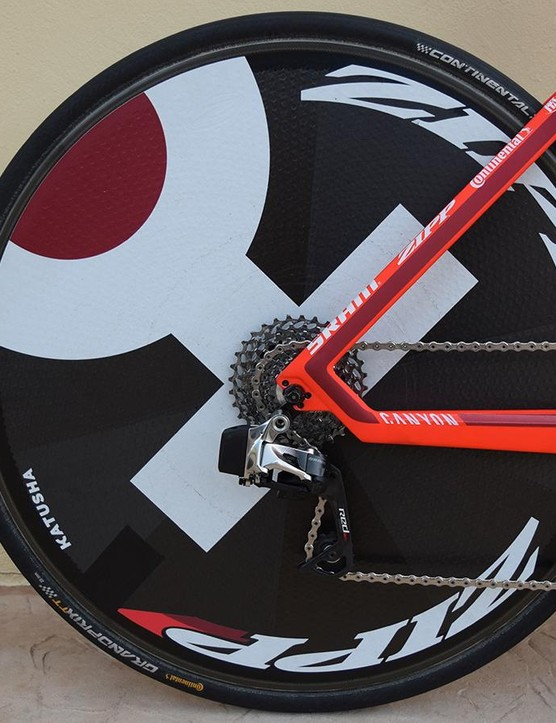 Martin's disc rear wheel is fully branded with the Katusha Sports logo
