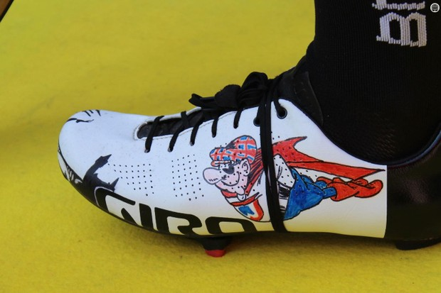 Custom footwear is fairly common in the pro peloton. But self-created art? That's pretty unusual