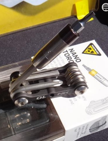 With the proliferation of carbon components, torque wrenches are an increasingly good idea. Topeak's Nano Torque Box uses a preset torque driver that slips onto your existing 5mm Allen key or multitool and a set of bits to keep your bike components properly tightened. They are available in 4, 5 and 6 Nm options. Multitool not included