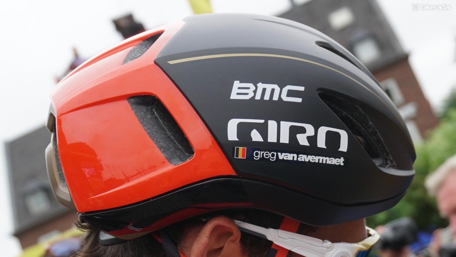 BMC and Katusha riders are wearing Giro's new and unreleased Vanquish MIPS aero helmet