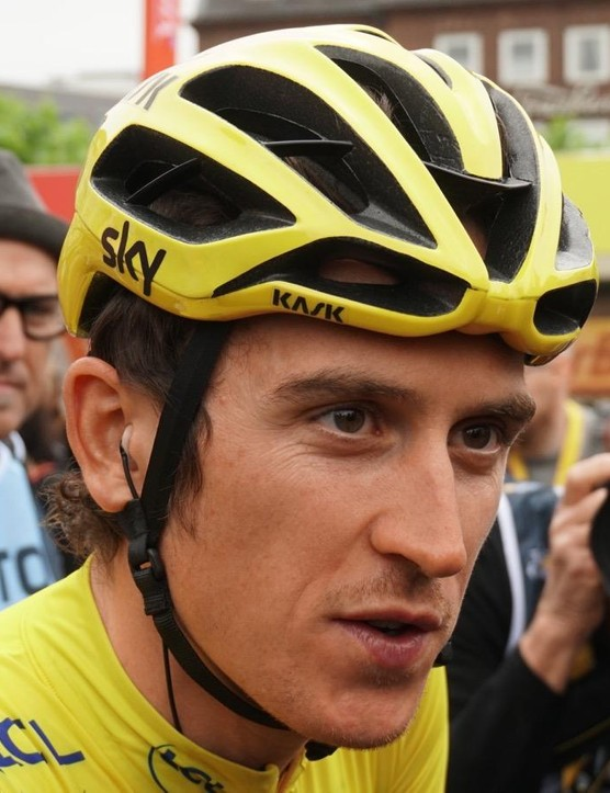 Race leader Geraint Thomas and his teammates wore yellow Kask Protones on stage 2
