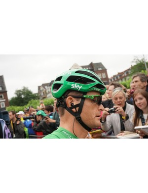 Following his third place on the stage 1 time trial, Sky's Vasil Kiryienka was in green