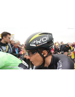 Ekoi offers customization of various helmets on its site for consumers, but not this aero lid worn by Belgian champion Oliver Naesen