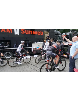 As teams often do, Sunweb recruited a local rider (in Giro kit) to lead a ride outside of Dusseldorf
