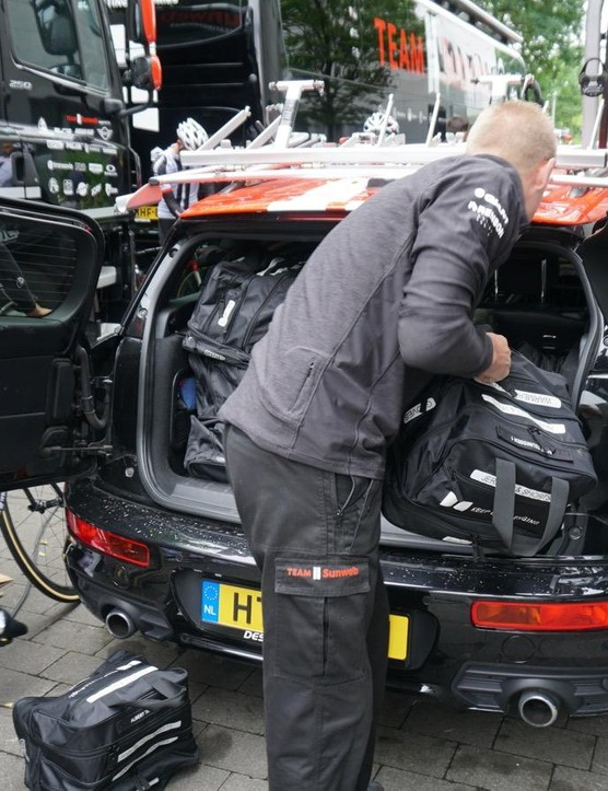 With rain in the forecast, Sunweb packed rain bags in the follow car
