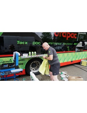 Some are water, some are drink mix, but all get a quick towel off so riders have perfectly dry bottles to grab
