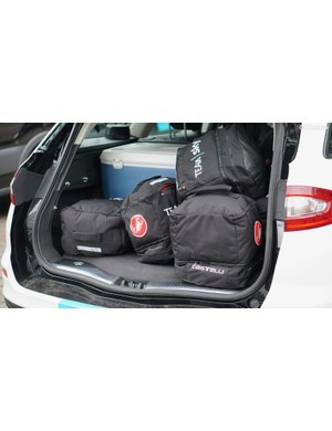 Each rider has a rain bag that goes in the follow car on training days before the Tour