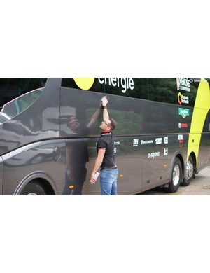 Just like bikes, team busses don't wash and shine themselves