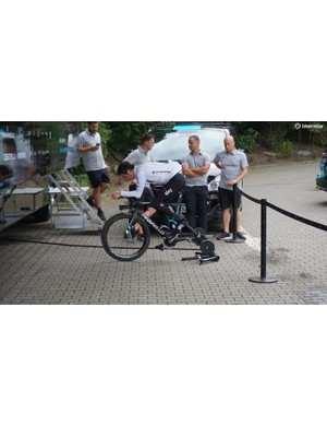 Two days before the opening time trial, Geraint Thomas puts in an effort on his TT bike