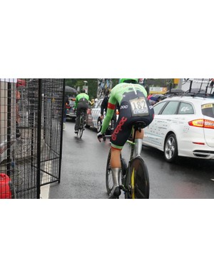 Besides keeping numbers much smoother than pins, the integrated number pouches keep them flat and dry in the rain. This is Alberto Bettiol, the first rider to race a Tour time trial with disc brakes