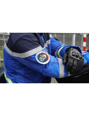 Gendarmes on motos had more than paint protecting them