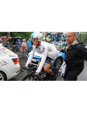 Sky's Vasil Kiryienka took third on the treacherous course in the new 4.0 Speed Suit
