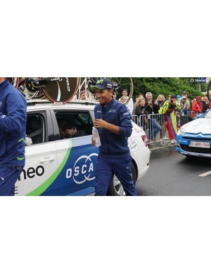 Tour GC hopeful Nairo Quintana stayed casual and relaxed until about an hour before his start