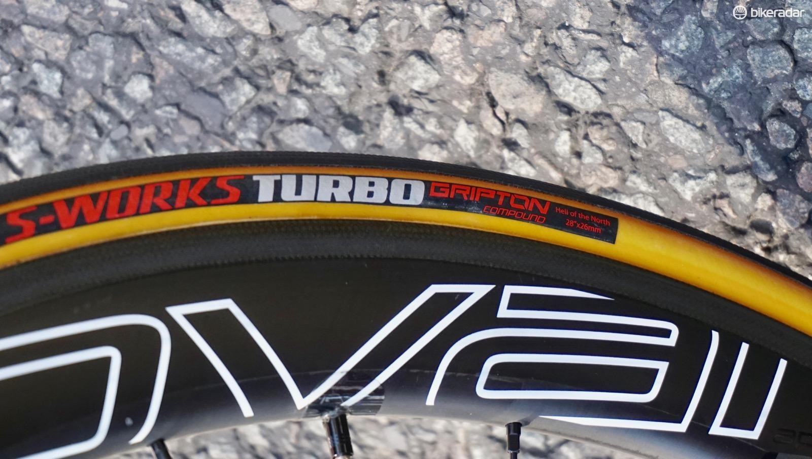Marcel Kittel has won three stages of the 2017 Tour de France on 26mm S-Works Turbo Hell of the North tubulars. The rest of his team is on Specialized's S-Works Allround 3 tubulars, also in 26mm