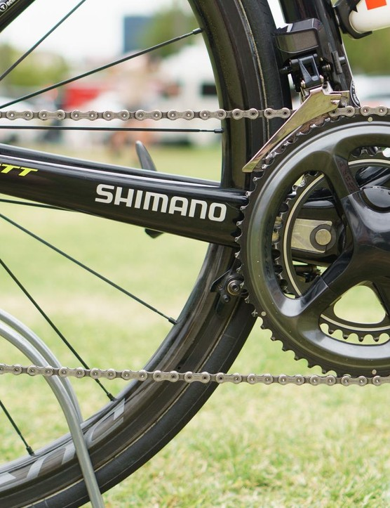 Impey's bike is built around a Shimano Dura-Ace R9150 Di2 groupset