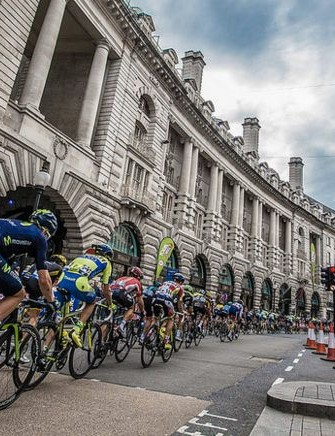 Riders head through London's Regent Street on the 2015 Tour of Britain