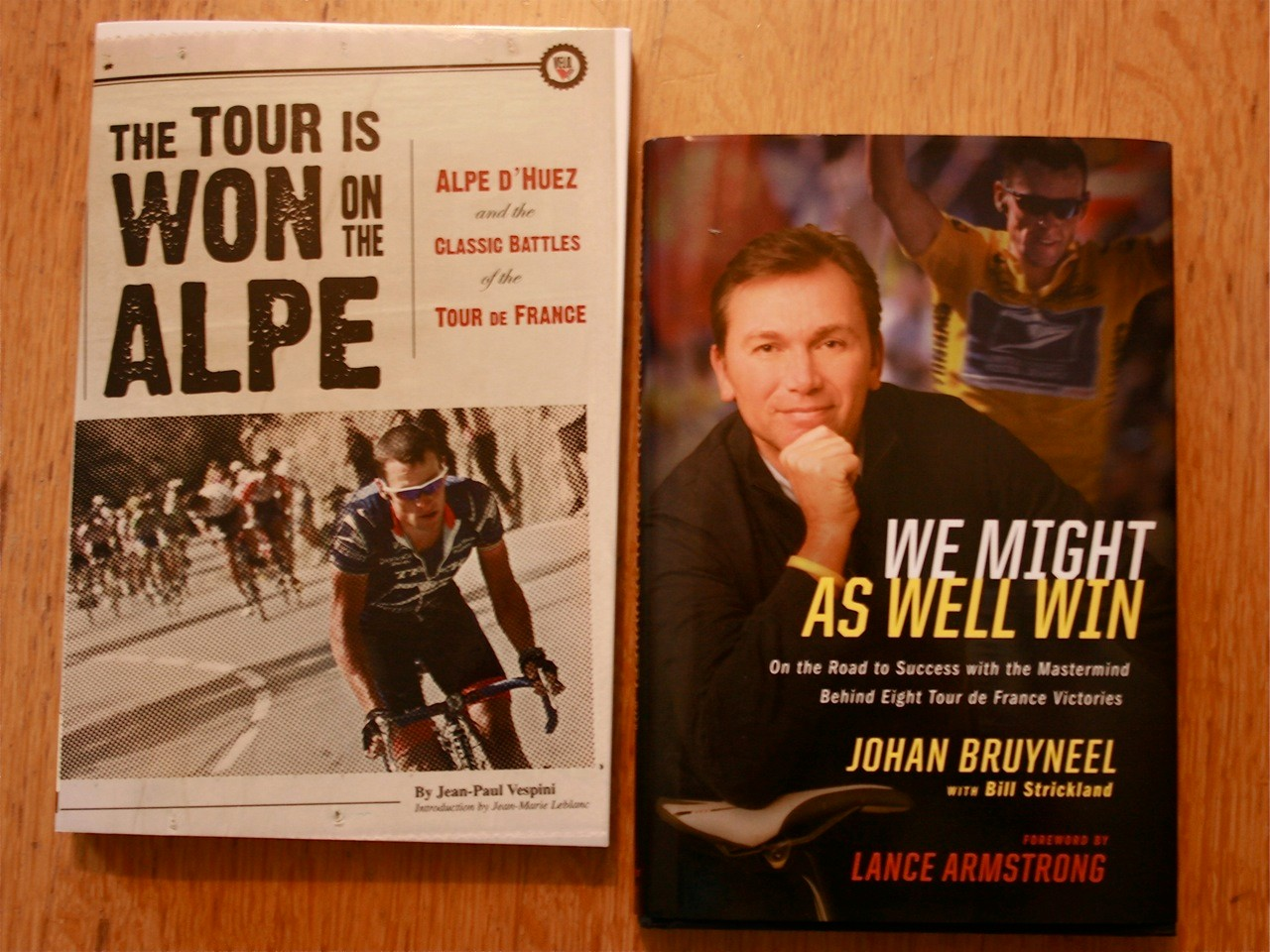 Books from Lance's shelf:  one about his favourite stage of the Tour, and one by buddy Johan.