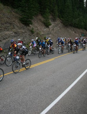 The pack rides up the Fording Creek Road climb