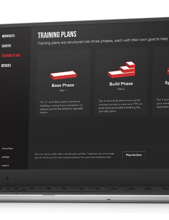 TrainerRoad's training plans are divided by phase, type of riding and available training hours