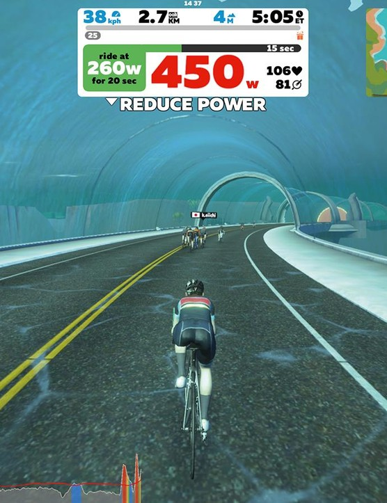 Stats shown through Zwift give a visual guide to performance