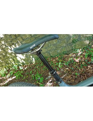 A WTB saddle perches on top of the Race Face dropper post