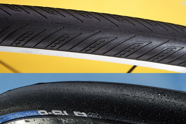 According to independent testing it seems tyres with tread can offer some advantages over slicks