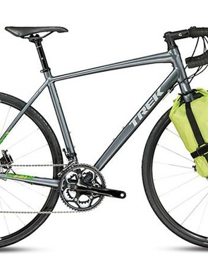 The Trek 720's fluoro fork-mounted baggage certainly makes it stand out from the crowd