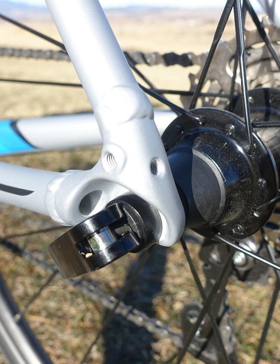 The rear dropouts on the Domane AL 3 have provisions for both fenders as well as a rear rack